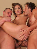 Long Haired Brunette Hoe Does A DP With Two Porn Studs