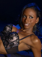 Black Stripper Hoe Jen Johnson (from Idlewild) Displays Her Small Black Titties In A Lacy Bra
