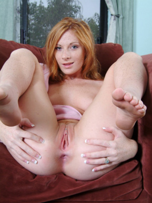Freckled Redhead Fingers Her Trimmed Fire Crotch Pussy