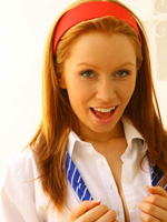 Sexy Ginger Redhead Alex Strips Off Her School Uniform And Teases In White Boy-Short Panties