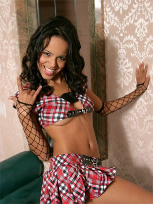 Schoolgirl Latina Stripper Parties With Her Pants Down And Sticks Her Plaid Panties In Her Mouth