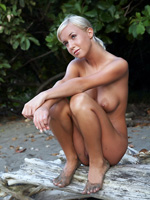 Little Tanned & Toe-Headed Blonde Emma Contemplates Her Tight Shaved Vagina On The Beach